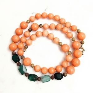 Vintage polished stone long beaded necklace